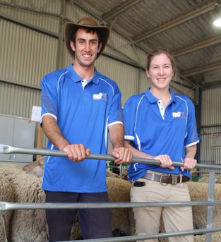 "Sheep and wool industry scholarship winners Josh Molloy, ""Ellwood"", Yerong Creek and Emily Anderson ""Lower Sylvia Vale"", Binda. Picture: Nikki Reynolds"